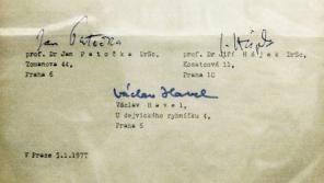 Podpisy prvních mluvčích Charty 77
