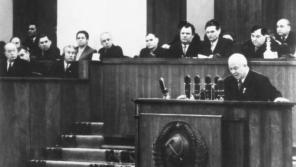 Nikita Sergejevič Chruščov na XX. sjezdu Komunistické strany Sovětského svazu v Moskvě, který se konal ve Velkém kremelském paláci v Moskvě konal od 14. do 26. února 1956. Foto: ČTK