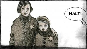 Anita Franková s maminkou v komiksovém příběhu z knihy Ještě jsme ve válce, kresba Miloš Mazal. Zdroj: Post Bellum