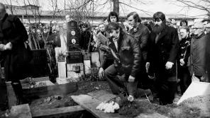 Pavel Landovský na pohřbu Jana Patočky. Foto Ondřej Němec