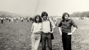 Marian Siedlaczek s přáteli v Krakově při mši papeže 10. června 1979.