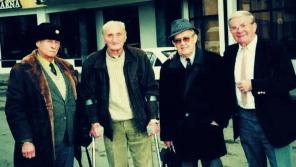 Pravomil Raichl (vlevo) se spoluvězni: generálem Rudolfem Pernickým, Vojtěchem Klečkou a Ladislavem Kořánem. Zdroj: Paměť národa