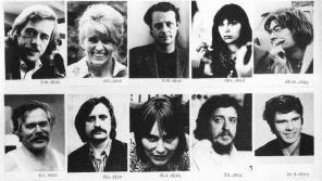 Dana Němcová (ve spodní řadě) mezi desíti zatčenými členy VONS v červnu 1979.