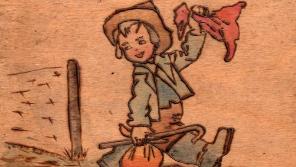 Destička s kresbou Odchod z ghetta, Jiří Koref ji dostal v Terezíně. V pozadí ztvárnění ostnatého drátu.
