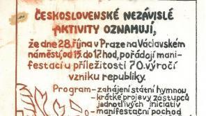 Potlačení připomínky 70. výročí založení Československa