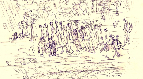 Pochod smrti, kresba Naftali Fürst.