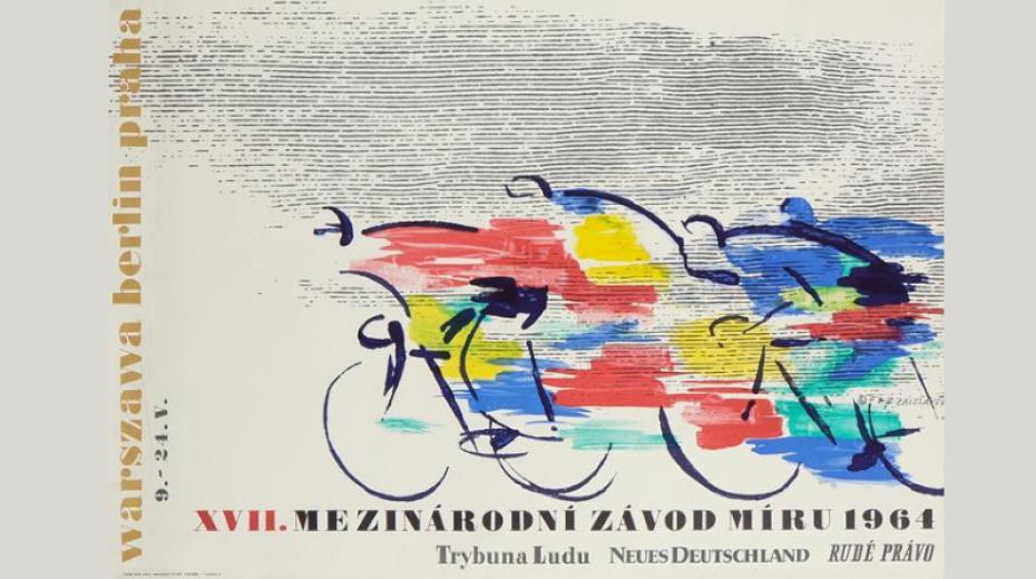 Plakát k Závodu míru v roce 1964, autor grafiky František Zálešák