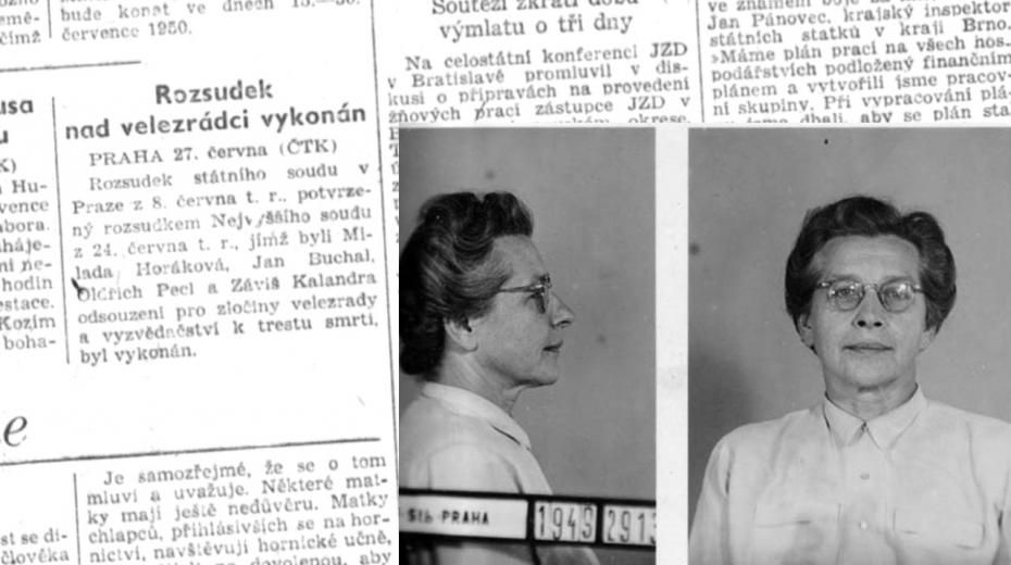 Krátká zpráva o popravě v Rudém právu 28. června 1950 na straně 3. Zdroj: Ústav pro českou literaturu AV ČR, v.v.i.