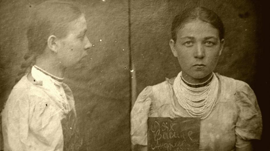 Vasilina Mesárová při zatčení. Foto: Státní archiv Zakarpatské oblasti/ÚSTR