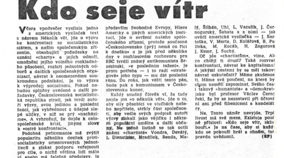 Článek v Rudém právu na straně 2 dne 30. června 1989.