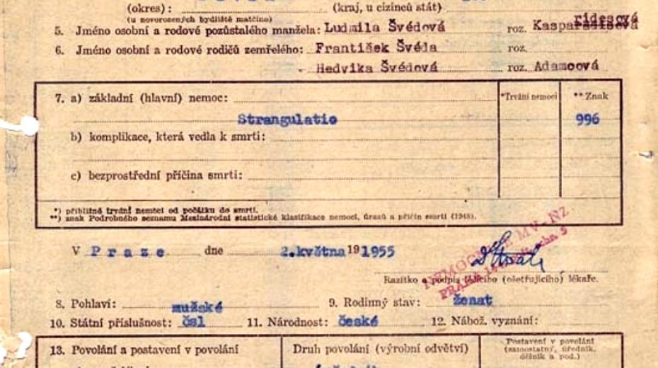 Ohledací list popisující stav těla Václava Švédy po popravě. Zdroj ÚSTR/Wikipedie