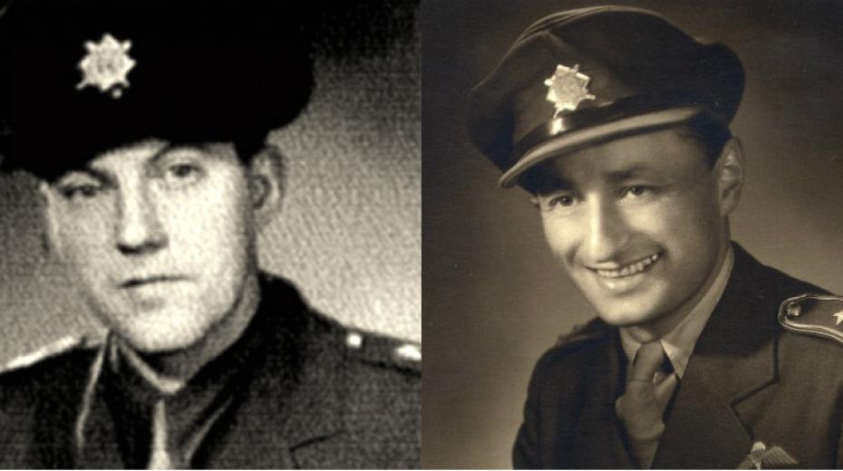 Výsadek Tungsten rotmistr Leopold Musil (vlevo) a kapitán Rudolf Pernický. Zdroj: Místa Paměti národa