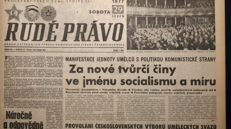 Článek o shromáždění umělců v Rudém právu 29. ledna 1977
