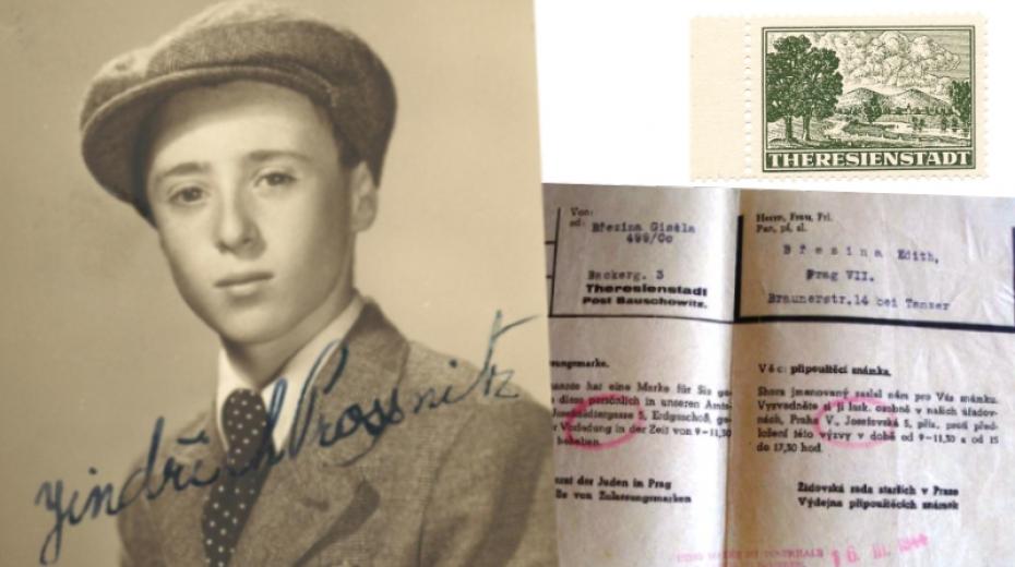 Heinz (Jindřich) Prossnitz na pasové fotografii z roku 1939. V rohu je tzv. terezínská známka, díky které mohli vězni dostat balíček. Pod ní oznámení o jejím zaslání - od Gisely Březina z Terezína její dceři Edith, která pomáhala Heinzi Prossnitzovi.