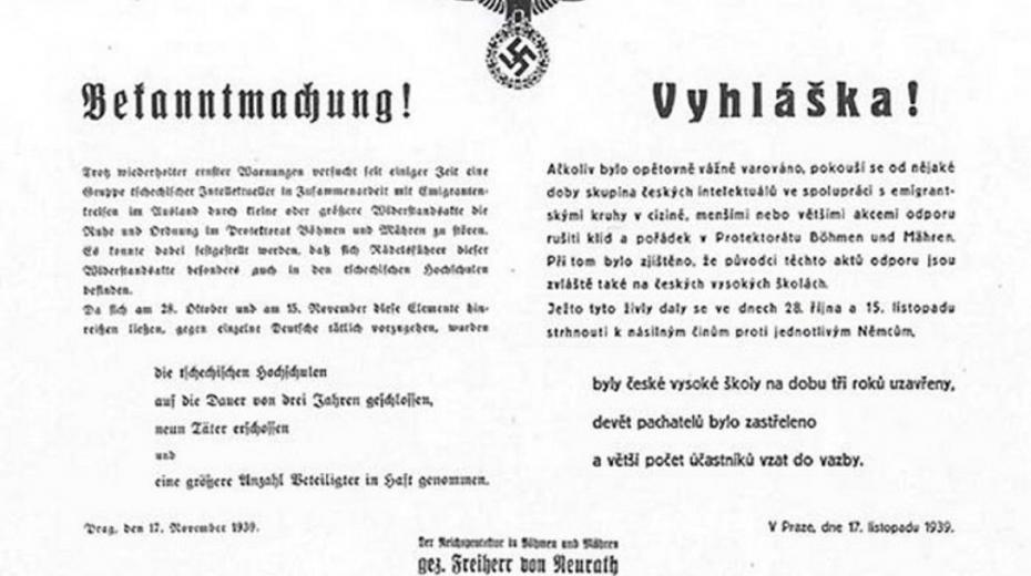 Vyhláška o uzavření českých vysokých škol.