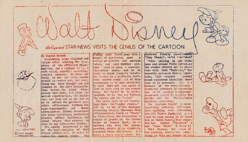 Článek o Waltu Disneym. Foto: Paměť národa