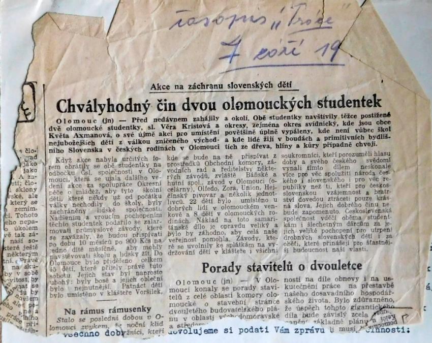 Článek v deníku Práce ze dne 7. září 1946. Foto: Paměť národa