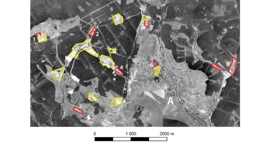 Tábory nucených prací a trestní pracovní tábory (červeně) a uranové doly (žlutě) na leteckém měřickém snímku z roku 1952. Foto: VGHMÚř Dobruška