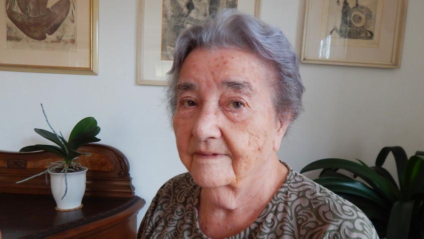 Anna Fidlerová při natáčení pro Paměť národa v roce 2014. Foto: Lukáš Květoň