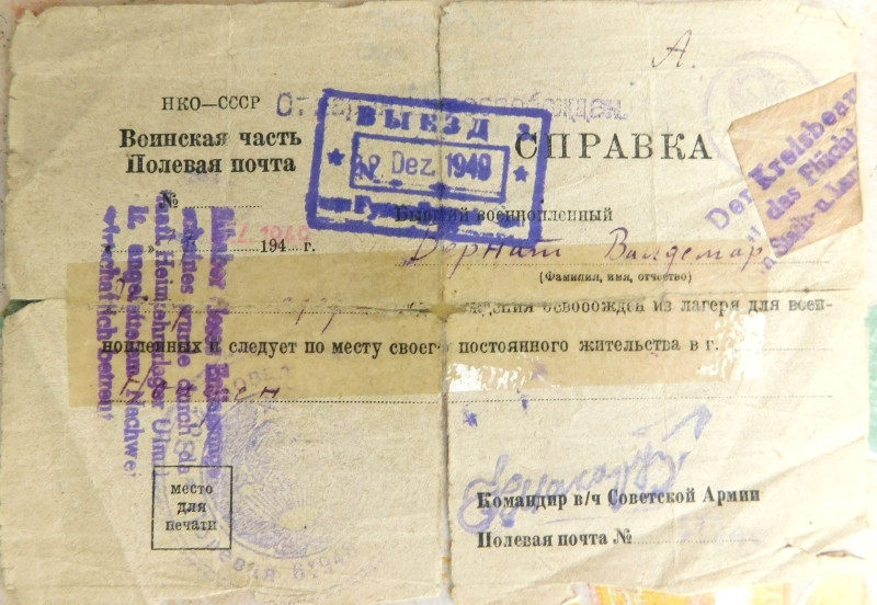 Propustka Vladimíra Bernáta ze zajateckého tábora v SSSR z roku 1949.