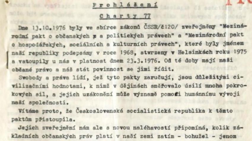 Text Prohlášení Charty 77. Zdroj: Wikimedia Commons