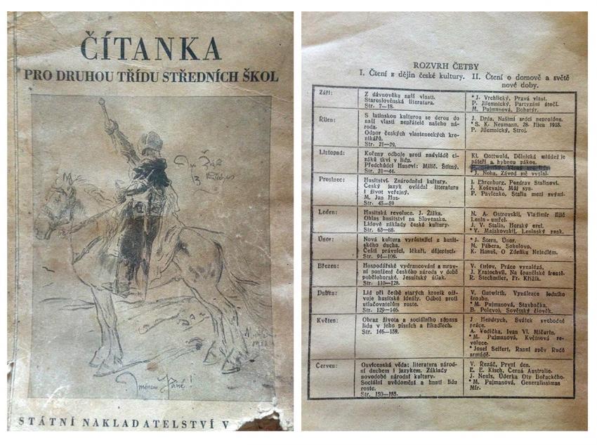 Přeškrnuté jméno Rudolfa Slánského v čítance pro 2. ročník středních škol z roku 1950.