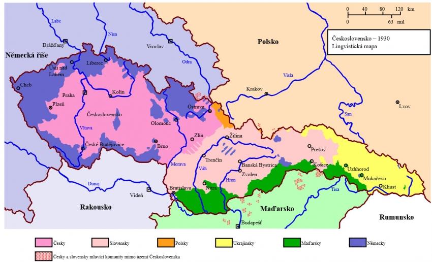 Jazyková mapa předválečného Československa. Zdroj: Wikipedie