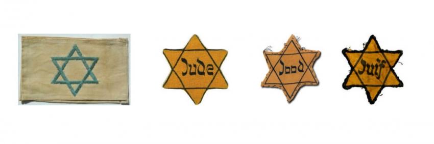 Označení židovských obyvatel mělo různou podobu. Zleva označení v Polsku, Německu a Protektorátu Čechy a Morava, v Holansku a ve Francii. Zdroj: HolocaustCenter.org