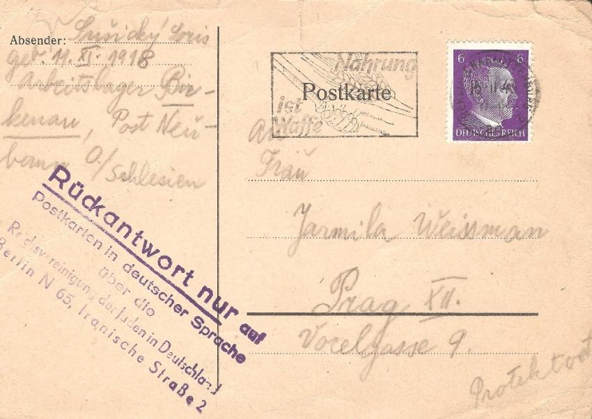 Dopisnice od Lorise z Osvětimi. Zdroj: Paměť národa