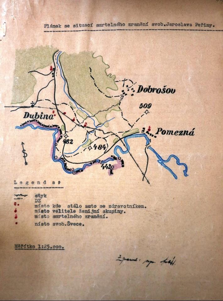 Plánek zachycující smrtelné zranění svobodníka Peřiny. Zdroj: Archiv bezpečnostních složek