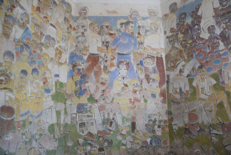 Freska Hlad ve světě v kostele kostel sv. Petra a Pavla v Rozhovicích. Foto Iva Marková