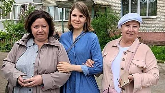 Hanna,Volha,Tacciana před soudem, 25. 5. 2021.Zdroj: Facebook se souhlasem majitele účtu