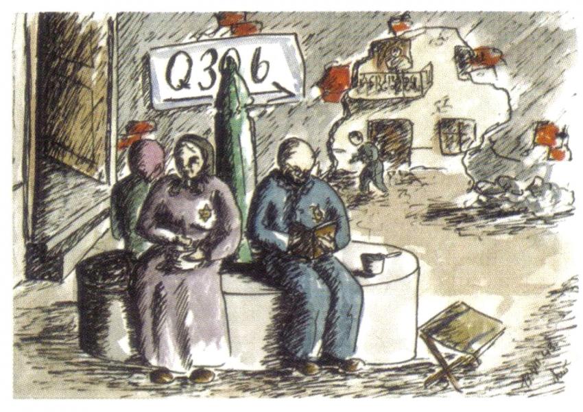 Akvarel Helgy Hoškové-Weissové, která přijela s rodiči jako jedenáctiletá prvním transportem v prosinci 1941. Život v terezínském ghettu zachytila ve svých kresbách. Děti v ghettu kreslily pod vedením malířky Friedl Dicker-Brandeisové, která je schovávala. Asi pět tisíc kreseb se našlo po válce na půdě jednoho dětského domova.