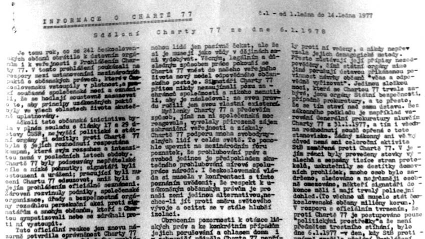 První vydání zpravodaje INFOCH z ledna 1978. Zdroj: VONS.cz