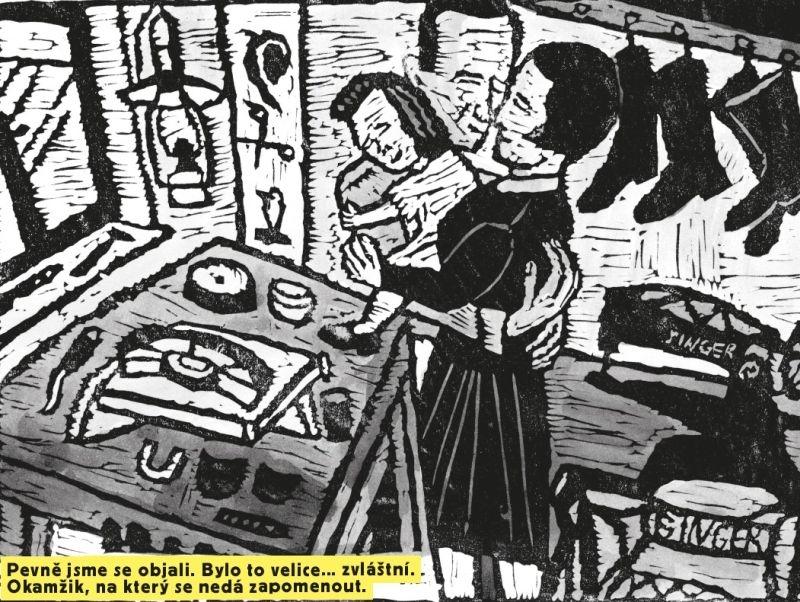 Ukázka z komiksového zpracování příběhu Rosemarie Kraus v rámci právě vydané publikace Odsunuté děti.  Nakreslila Magdalena Rutová