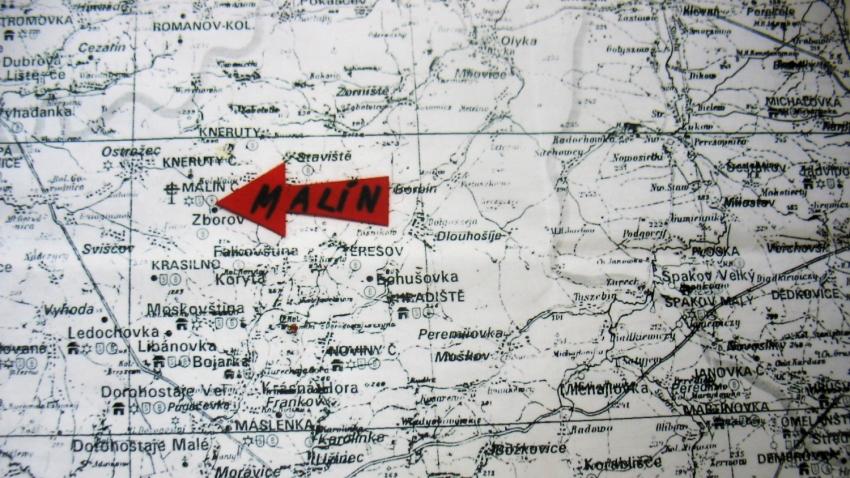 Mapa volyňské oblasti Libuše Kubinové s vyznačeným Českým Malínem, kde se narodila.