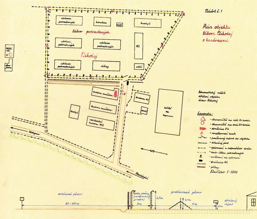 Nákres vykopaného tunelu a lágru Nikolaj, který vytvořili vyšetřovatelé útěku. Foto: Archív bezpečnostních složek