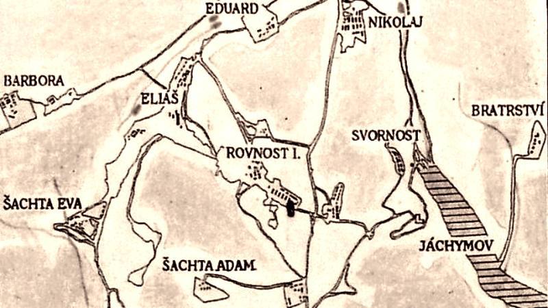 Rozmístění jáchymovských dolů v roce 1952