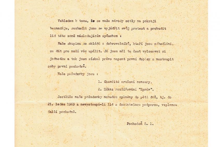 Dopis Jana Palacha, který zanechal v aktovce na místě svého činu.