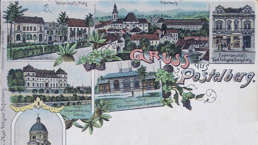 Pohlednice z Postoloprt (německy Postelberg) z konce 19. století. V roce 1930 měly Postoloprty 3 300 obyvatel, z nichž většina byla německého původu.
