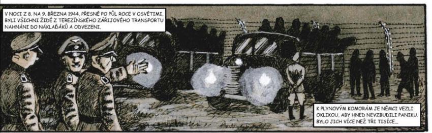 Příběh rodinného tábora v Osvětimi v komiksovém zpracování. Kresba Miloš Mazal