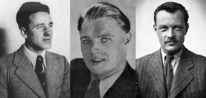Členové výsadku Silver A zleva: Alfréd Bartoš, Josef Valčík, Jiří Potůček. Foto: Český rozhlas / archiv Adolfa Vondrky, Wikimedia Commons