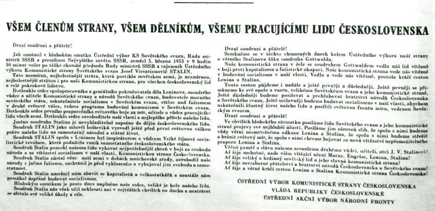 Prohlášení ÚV KSČ a československé vlády ke smrti Stalina. Zdroj: Moderní dějiny