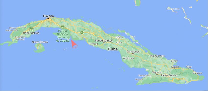 Zátoka sviní (španělsky Bahía de Cochinos, anglicky Bay of Pigs). Foto: Google Maps