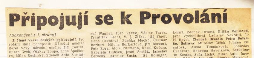 V tisku se objevovala téměř každodenně jména těch, kteří odsoudili Chartu 77.
