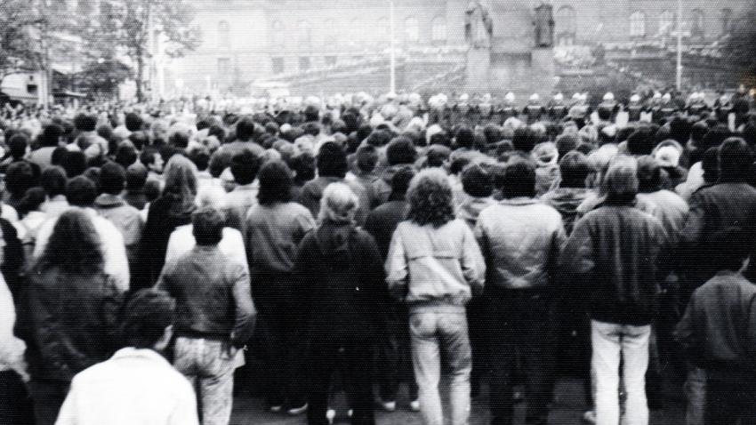 Demonstrace na Václavském náměstí 28. října 1988. Foto: Paměť národa/archív Petra Melichara