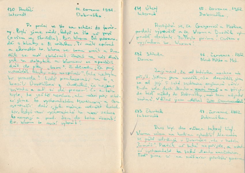 Ukázka z deníku Karla Pfeiffera z roku 1952. Zdroj: Paměť národa