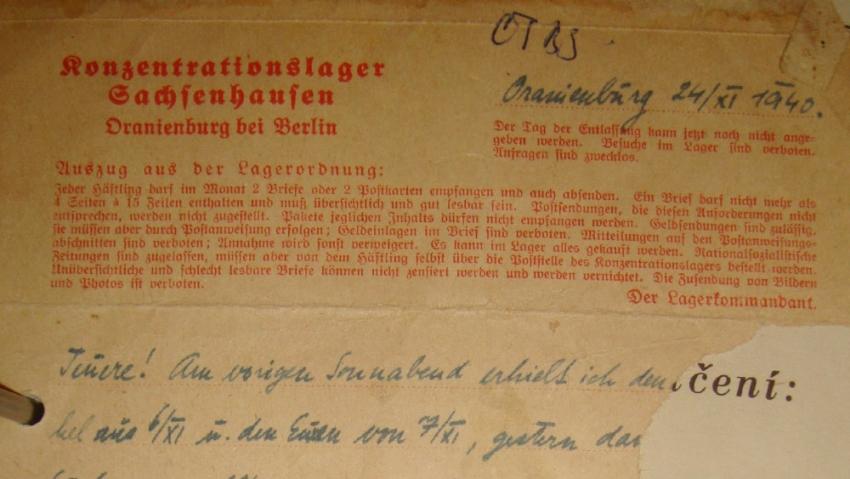 Dopis Eduarda Kuhna rodičům ze Sachsenhausenu.