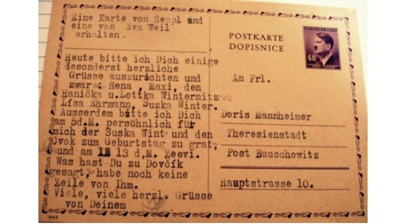 Dopisnice zaslaná Heinzem Prossnitzem. Foto: Paměť národa