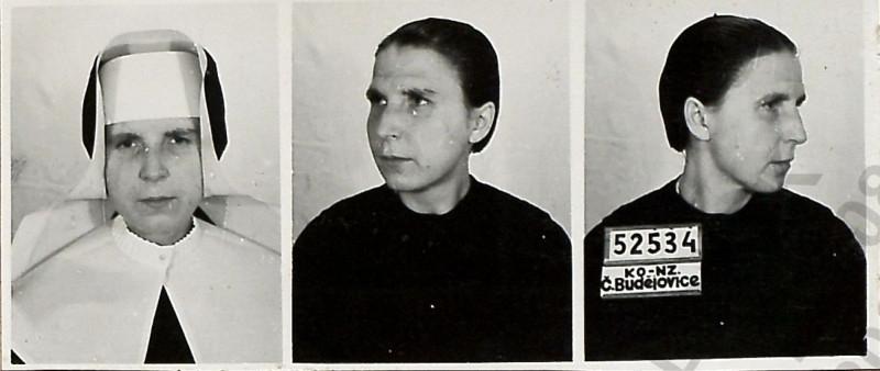 Vazební fotografie Edigny Bílkové po zatčení Státní bezpečností.  Zdroj: ABS, fond Vyšetřovací spisy, V - 786 ČB